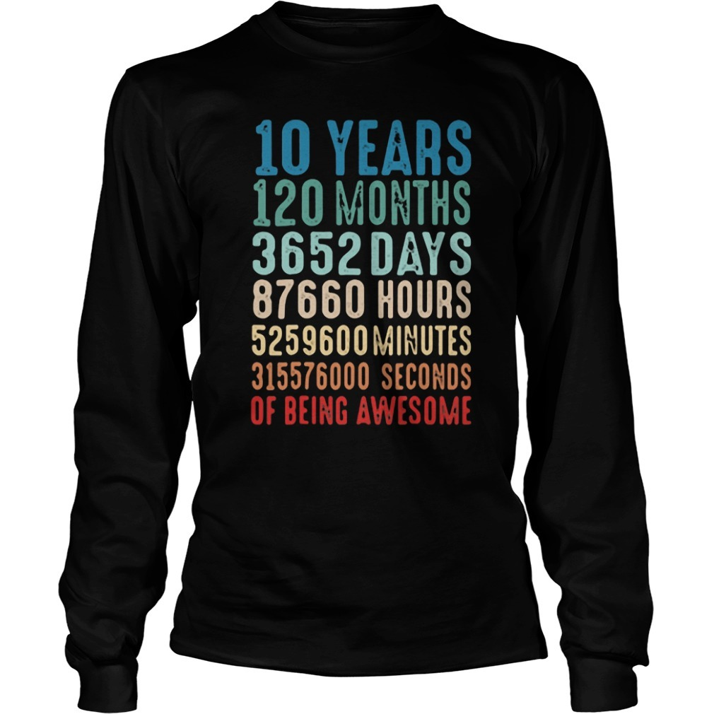10 Years Old 10th Birthday Vintage Retro Longsleeve Tee
