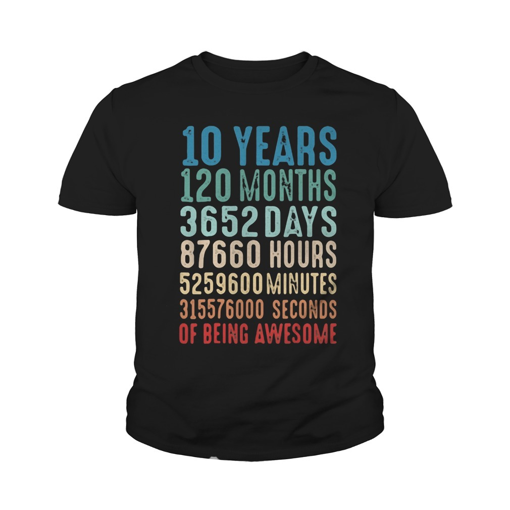 10 Years Old 10th Birthday Vintage Retro Youth Tee