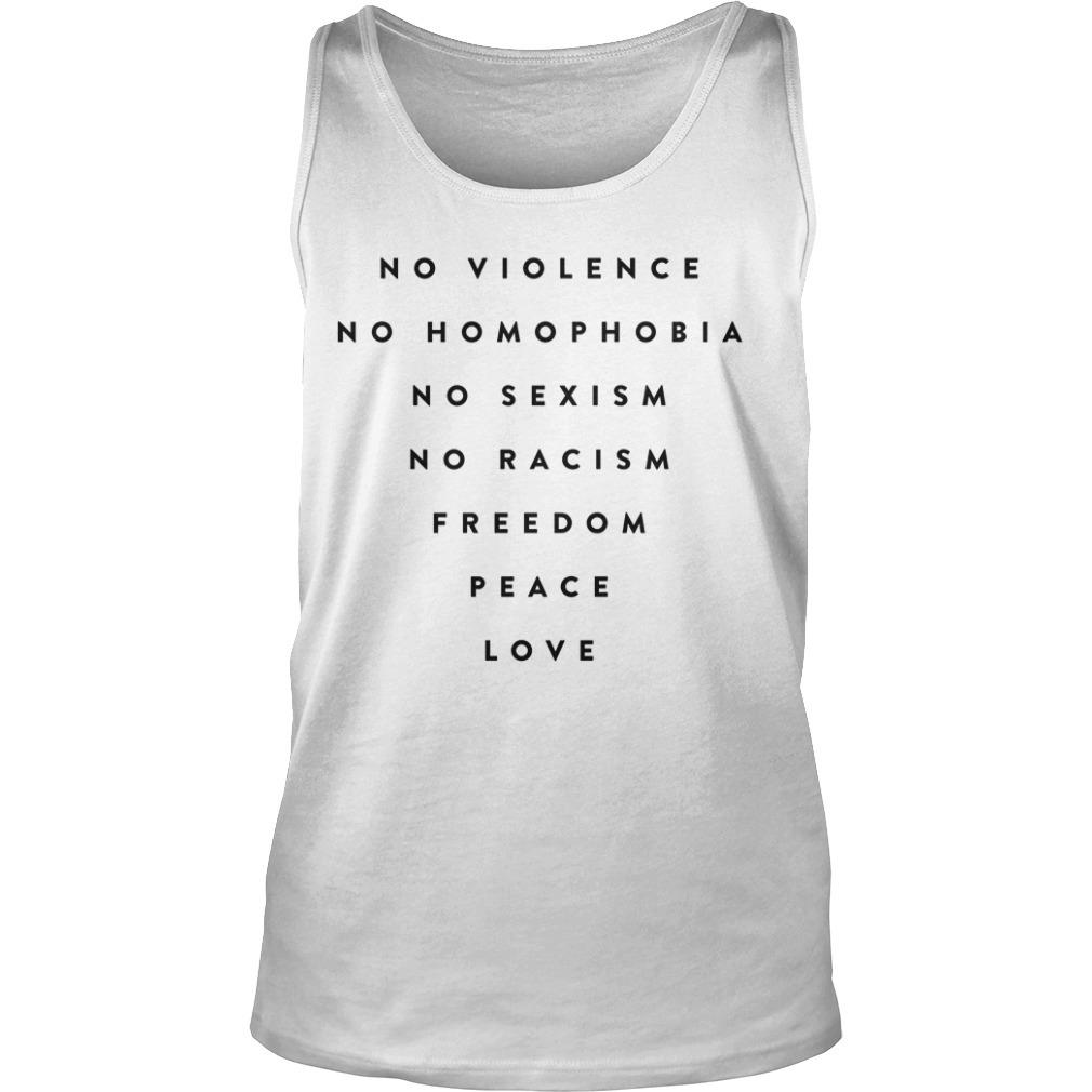 Daniel Bryan No Violence No Homophobia No Sexism No Racism Freedom Peace Love Tank Top