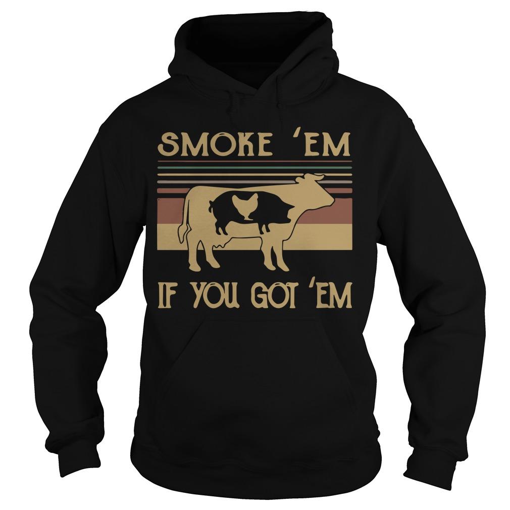 The Sunset Cow Pig Chicken Smoke 'em If You Got 'em Hoodie