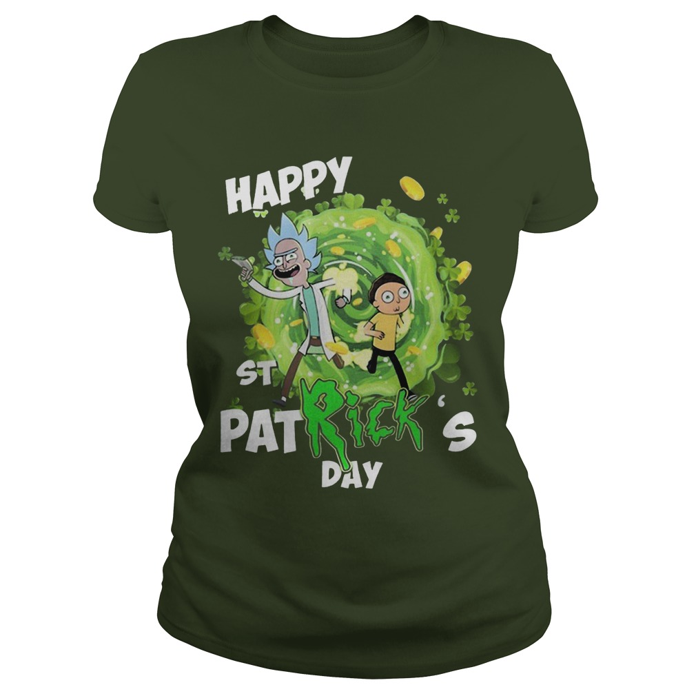 Rick And Morty Happy St Patrick's Day Ladies Shirt