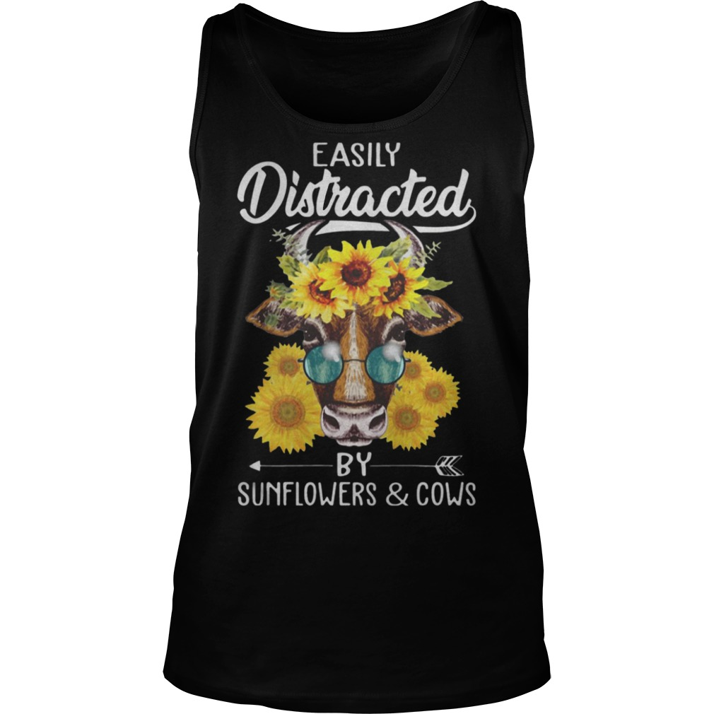 Easily Distracted By Sunflowers And Cows Glasses Shirt