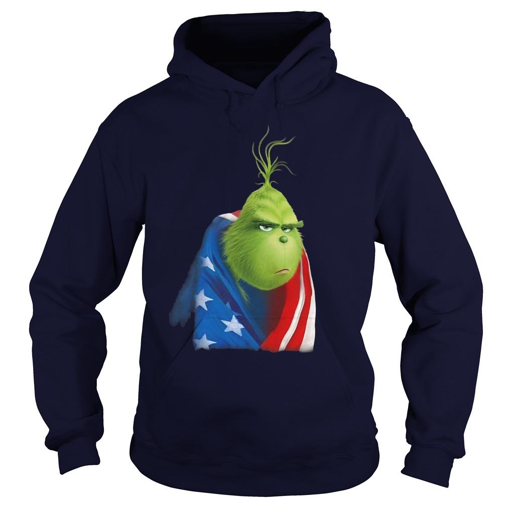 Grinch In American Flag Hoodie