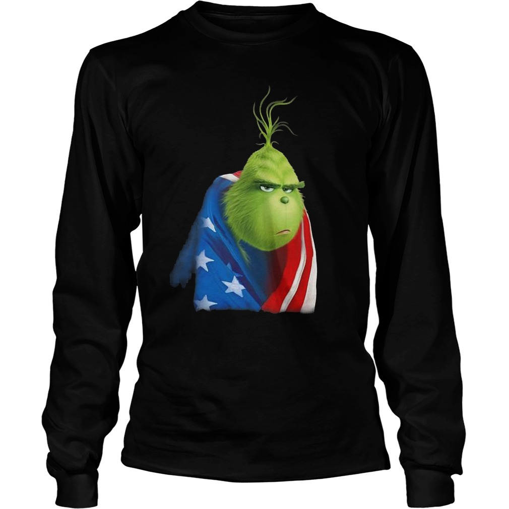 Grinch In American Flag Longsleeve Tee