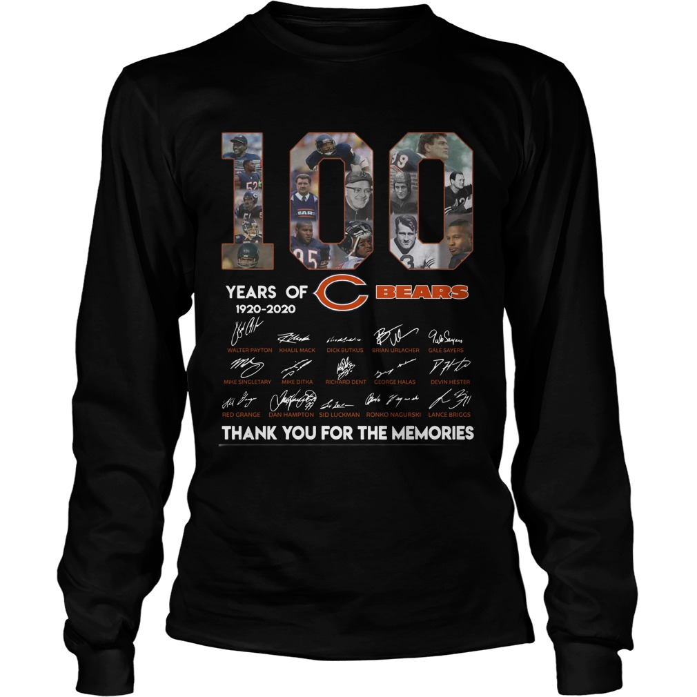 100 Years Of Chicago's Bears 1920 2020 Thank You For The Memories Longsleeve Tee
