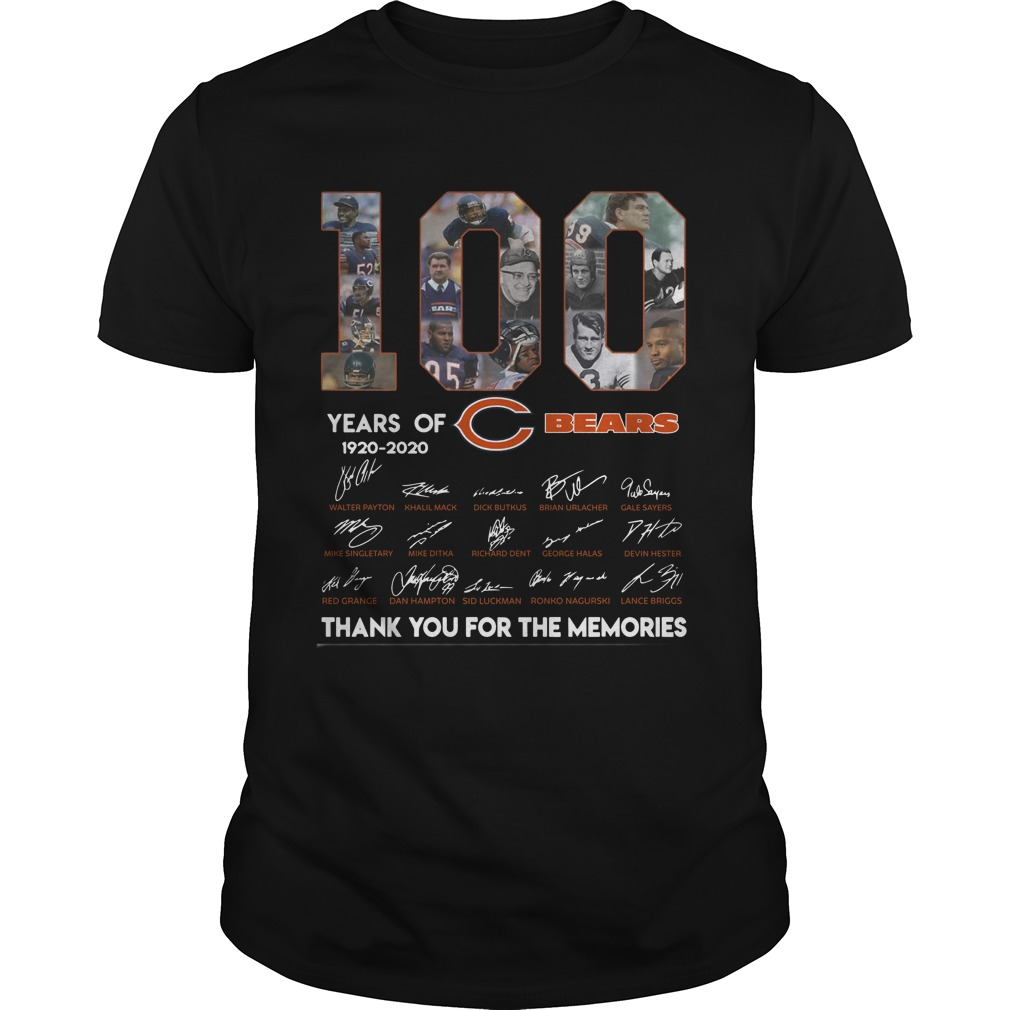 100 Years Of Chicago's Bears 1920 2020 Thank You For The Memories Shirt