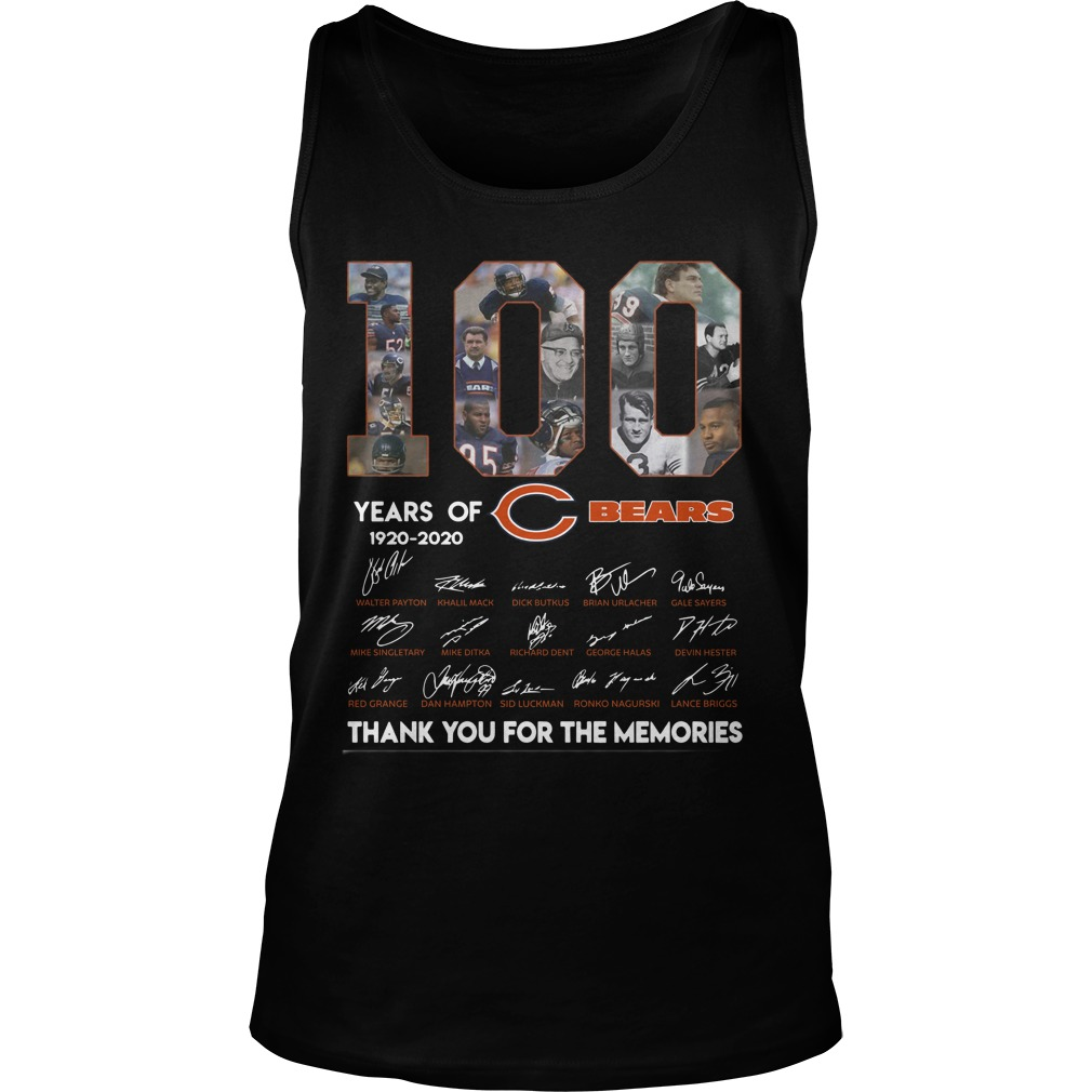 100 Years Of Chicago's Bears 1920 2020 Thank You For The Memories Tank Top