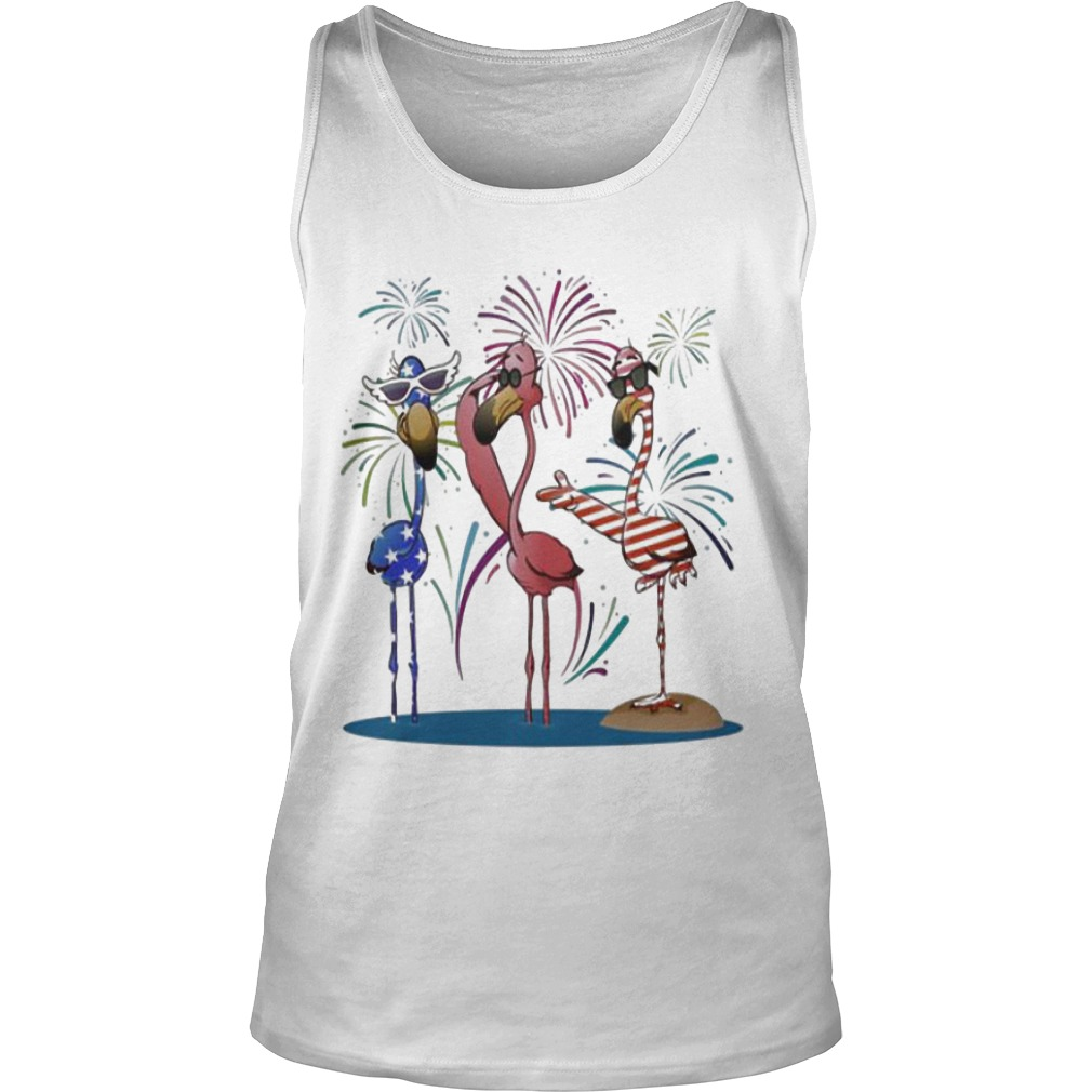 4th Of July Independence Day American Flag Flamingo Tank Top