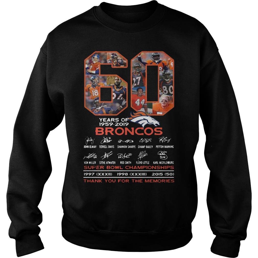 60 Years Of Broncos Super Bowl Championships Thank You For The Memories Sweater