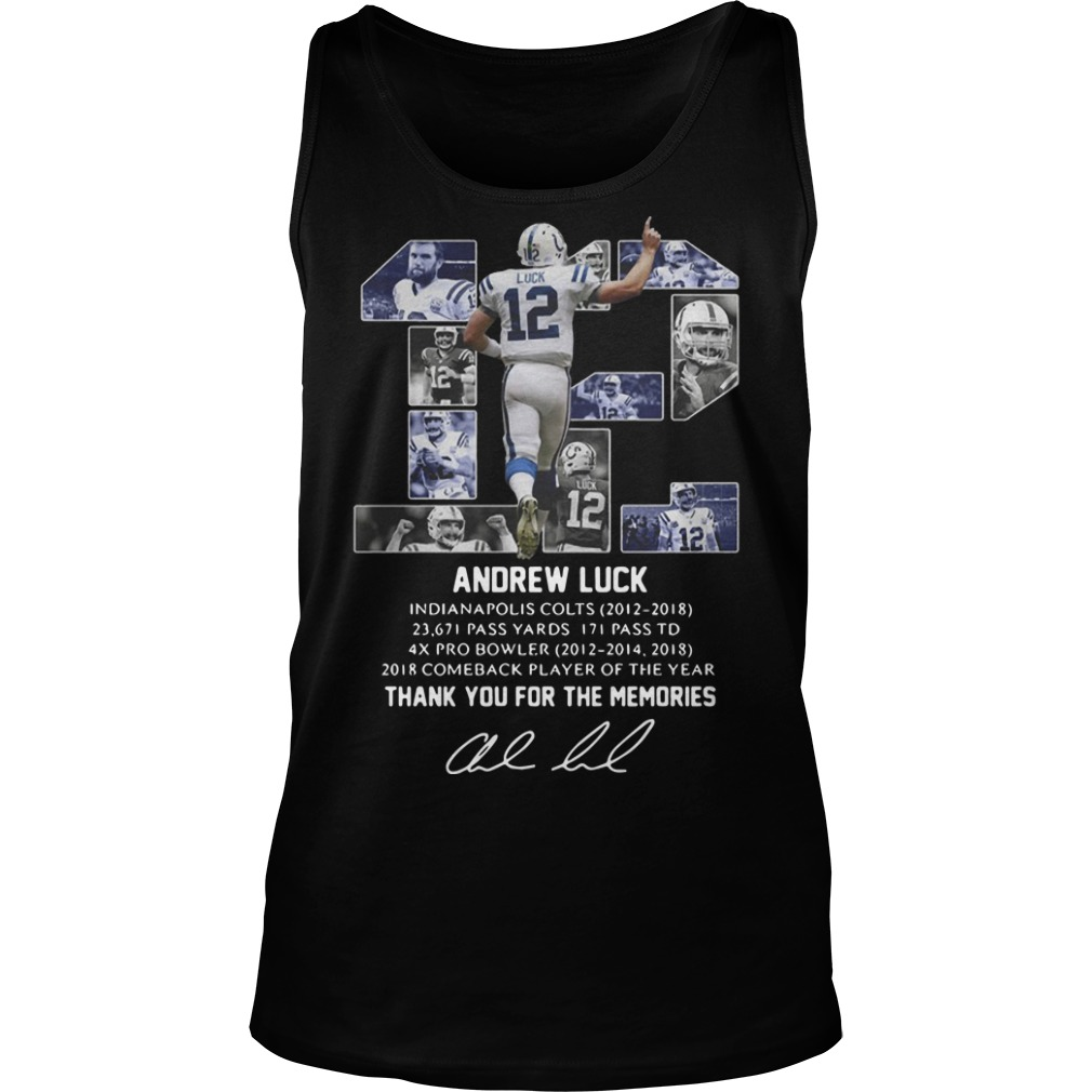 12 Andrew Luck Thank You For The Memories Tank Top