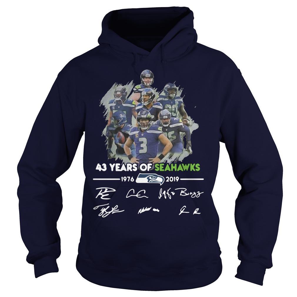 43 Years Of Seattle Seahawks 1976 2019 Signatures Hoodie