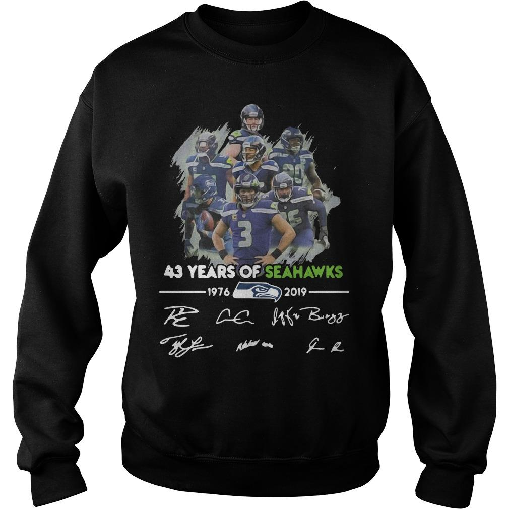 43 Years Of Seattle Seahawks 1976 2019 Signatures Sweater