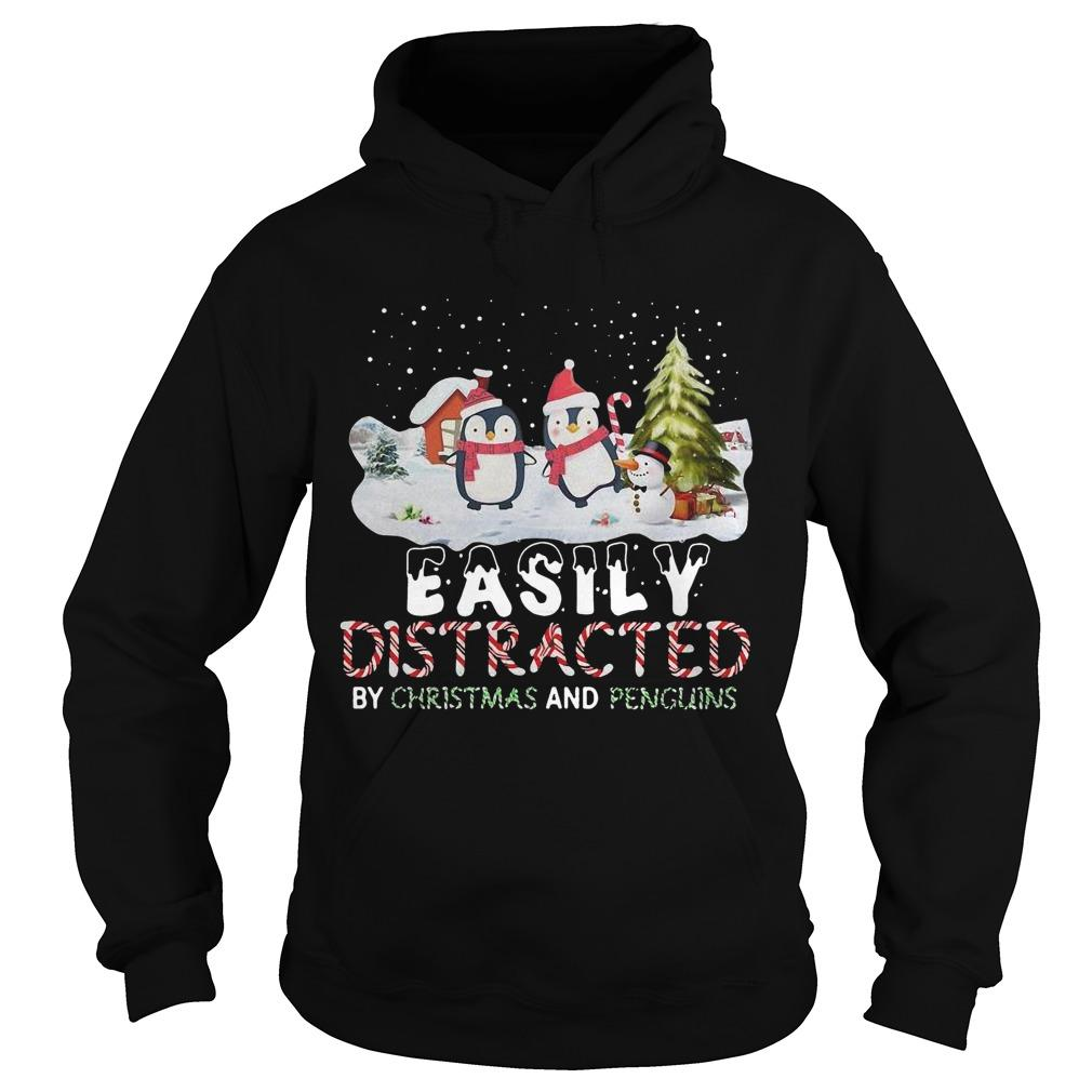 Easily Distracted By Christmas And Penguins Hoodie