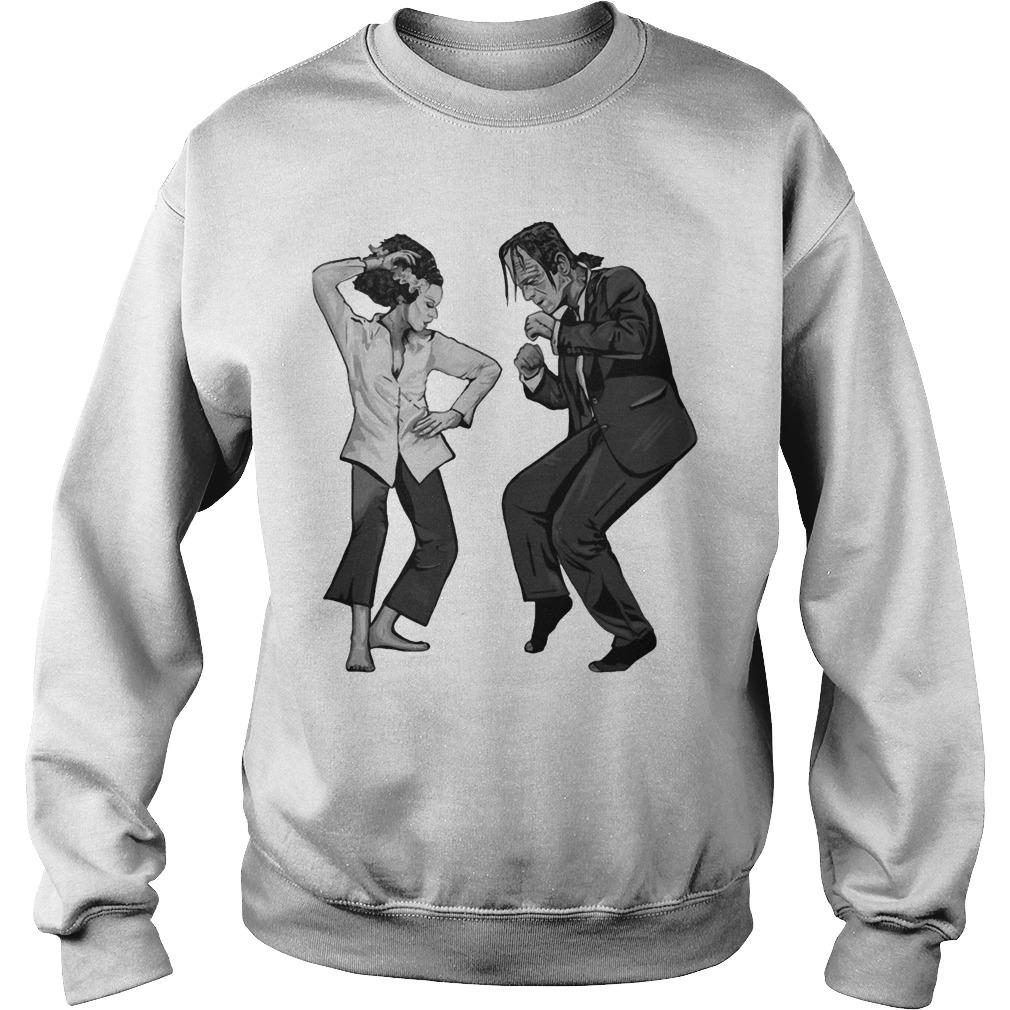 Halloween Frankenstein And Bride Fighting Sweater