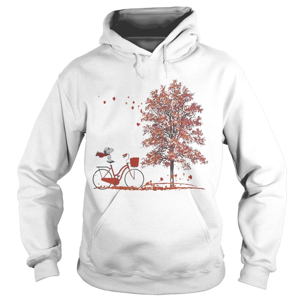Hello Autumn Snoopy Riding Bicycle Hoodie