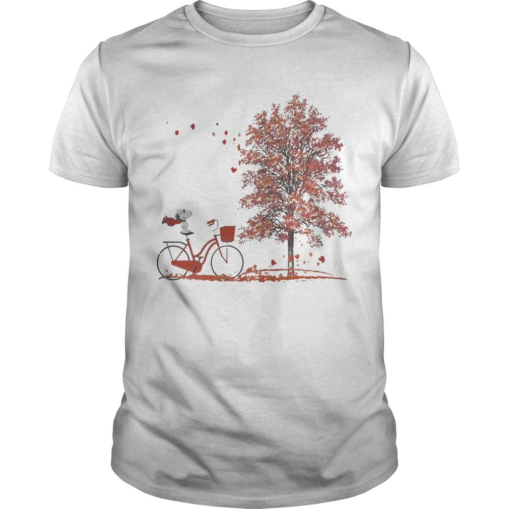 Hello Autumn Snoopy Riding Bicycle Shirt