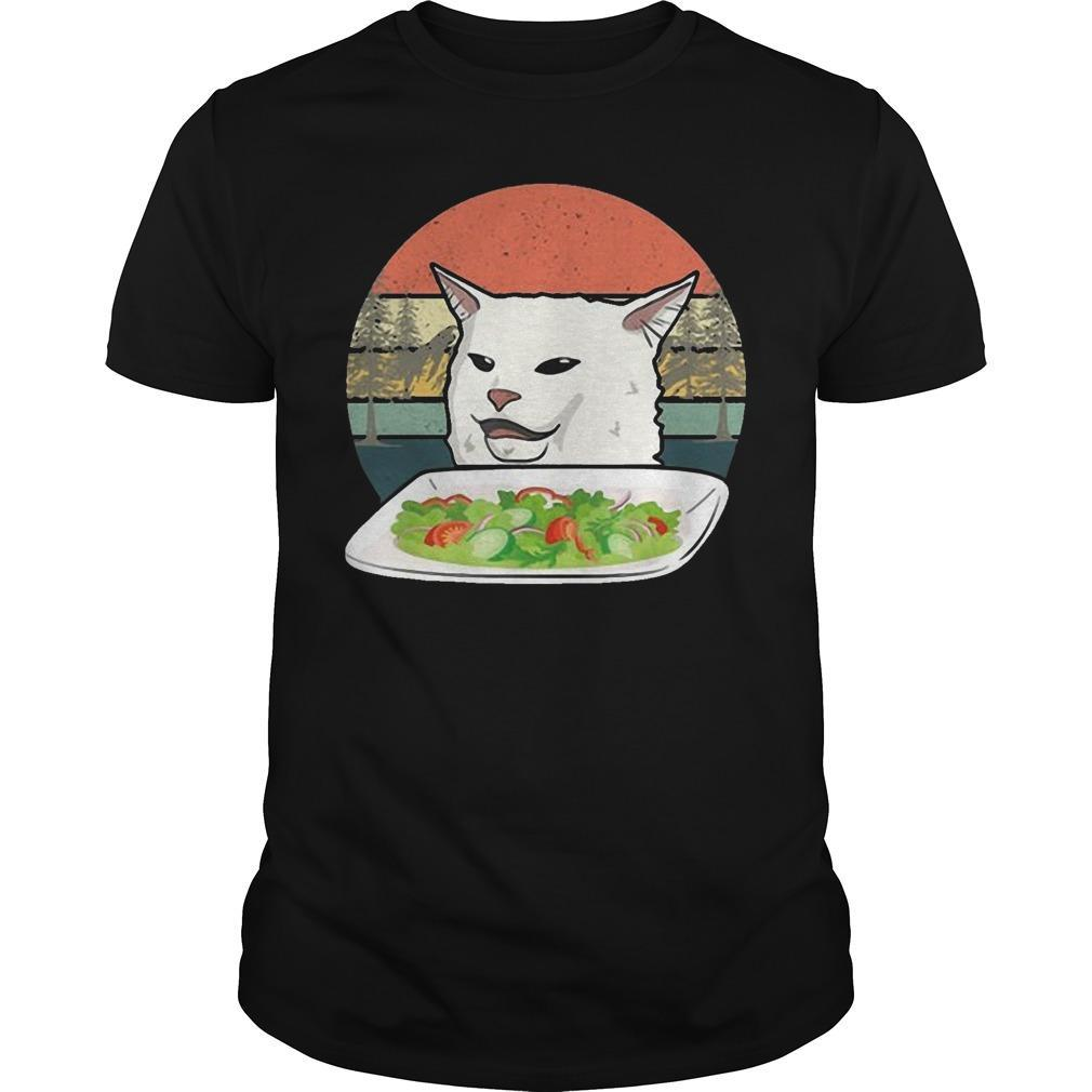 Vintage Retro Woman Yelling At Table Dinner Cat Meme Shirt