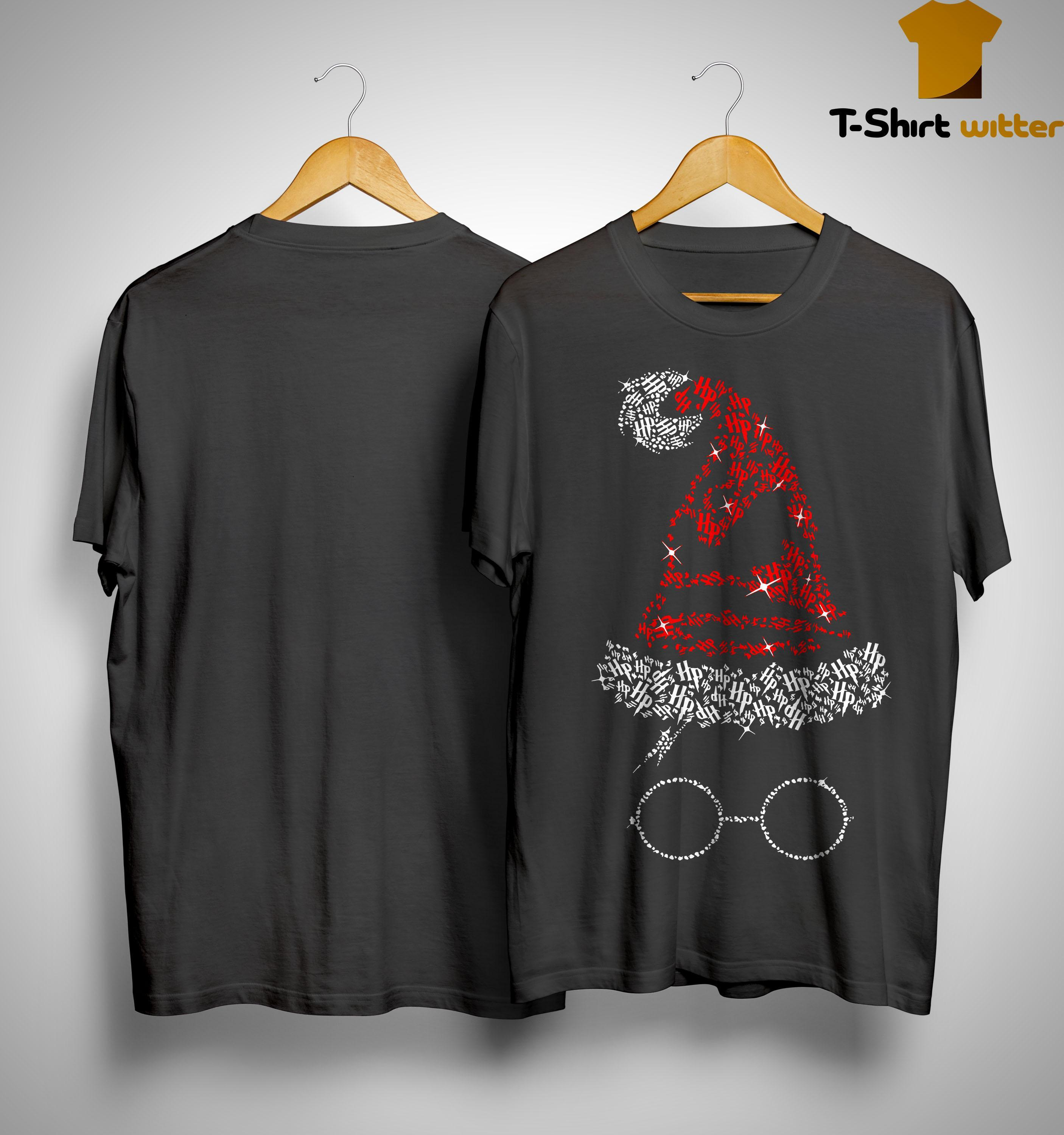 Christmas Harry Potter Santa Rhinestone Sorting Hat Shirt