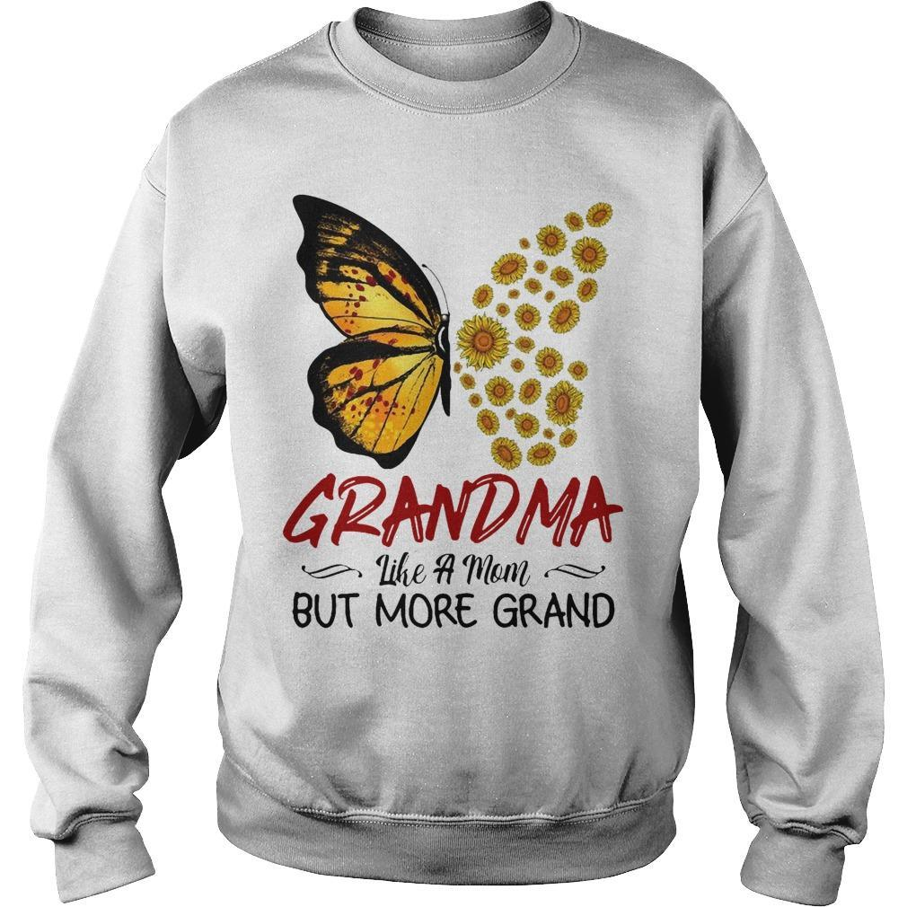 Sunflower Butterfly Grandma Like A Mom But More Grand Sweater