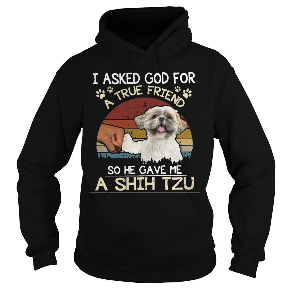 Vintage I Asked God For A True Friend So He Gave Me A Shih Tzu Hoodie