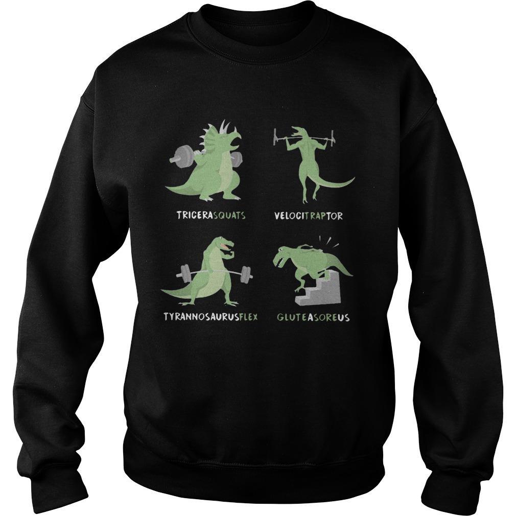 Weight Lifting Dinosaur Tricerasquats Velocitraptor Tyrannsaurusflex Glutesareus Sweater