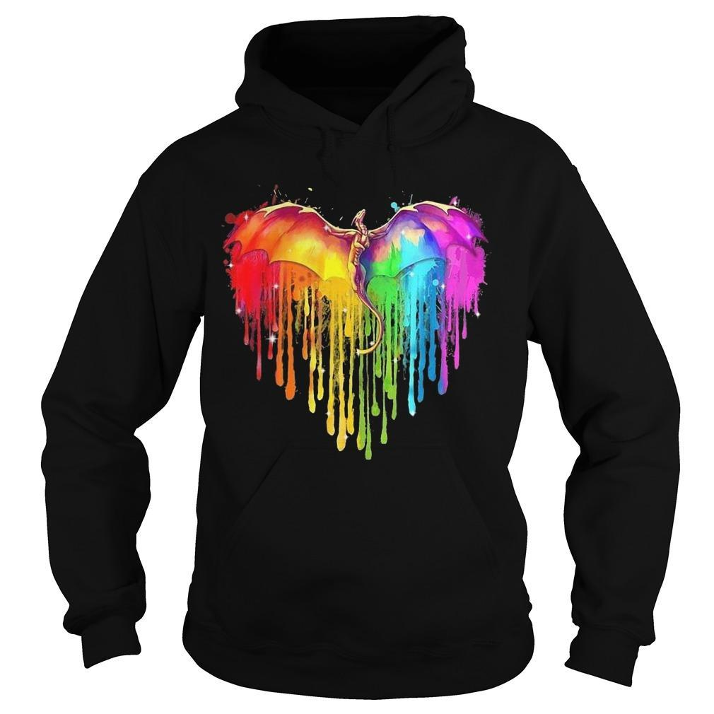 Lgbt Heart Dragon Watercolor Hoodie