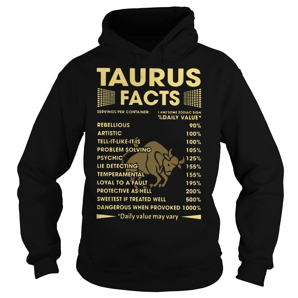 Taurus Facts Servings Per Containers I Awesome Zodiac Sign Hoodie