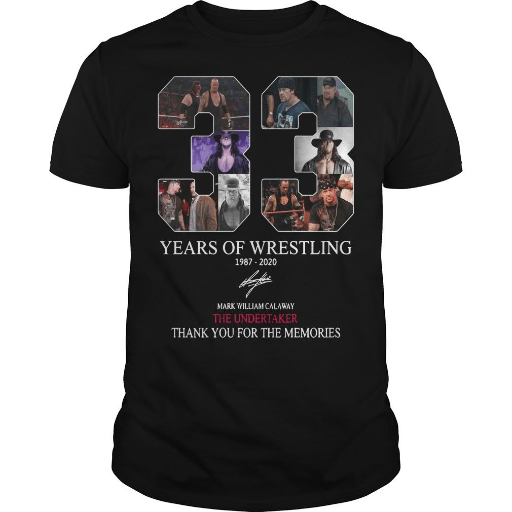 33 Years Of Wrestling 1987 2020 Thank You For The Memories Shirt