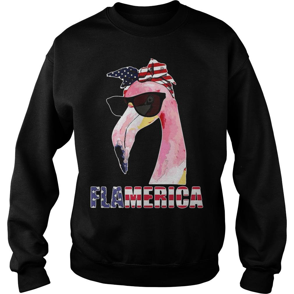 America 4th Of July Independence Day Flamingo Flamerica Sweater