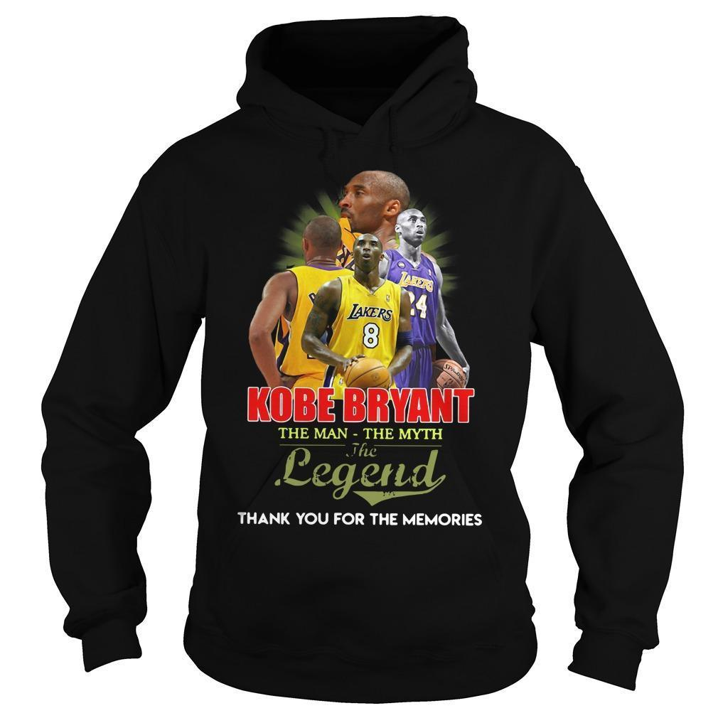 Kobe Bryant The Man The Myth The Legend Thank You For The Memories Hoodie