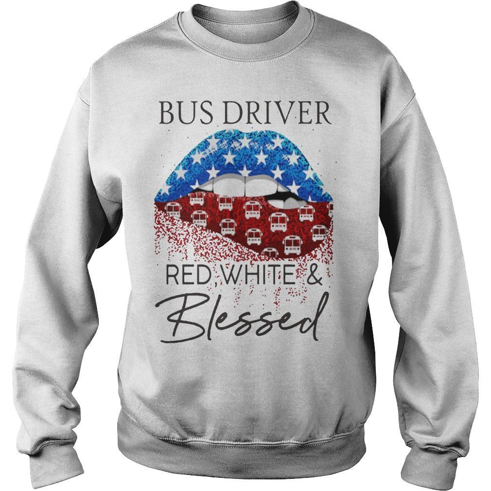 Lips Bus Driver Red White And Blessed Sweater