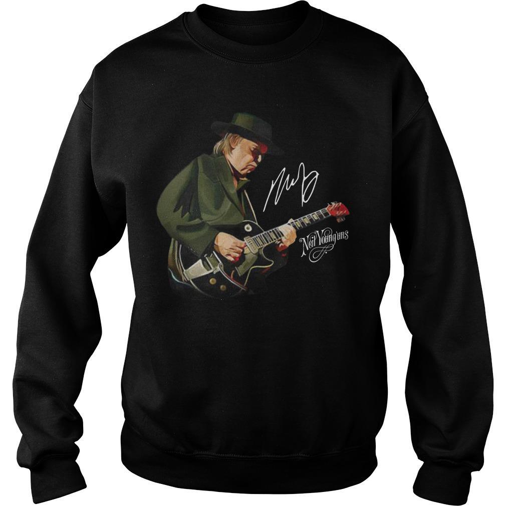 Neil Young Playing Guitar Signature Sweater