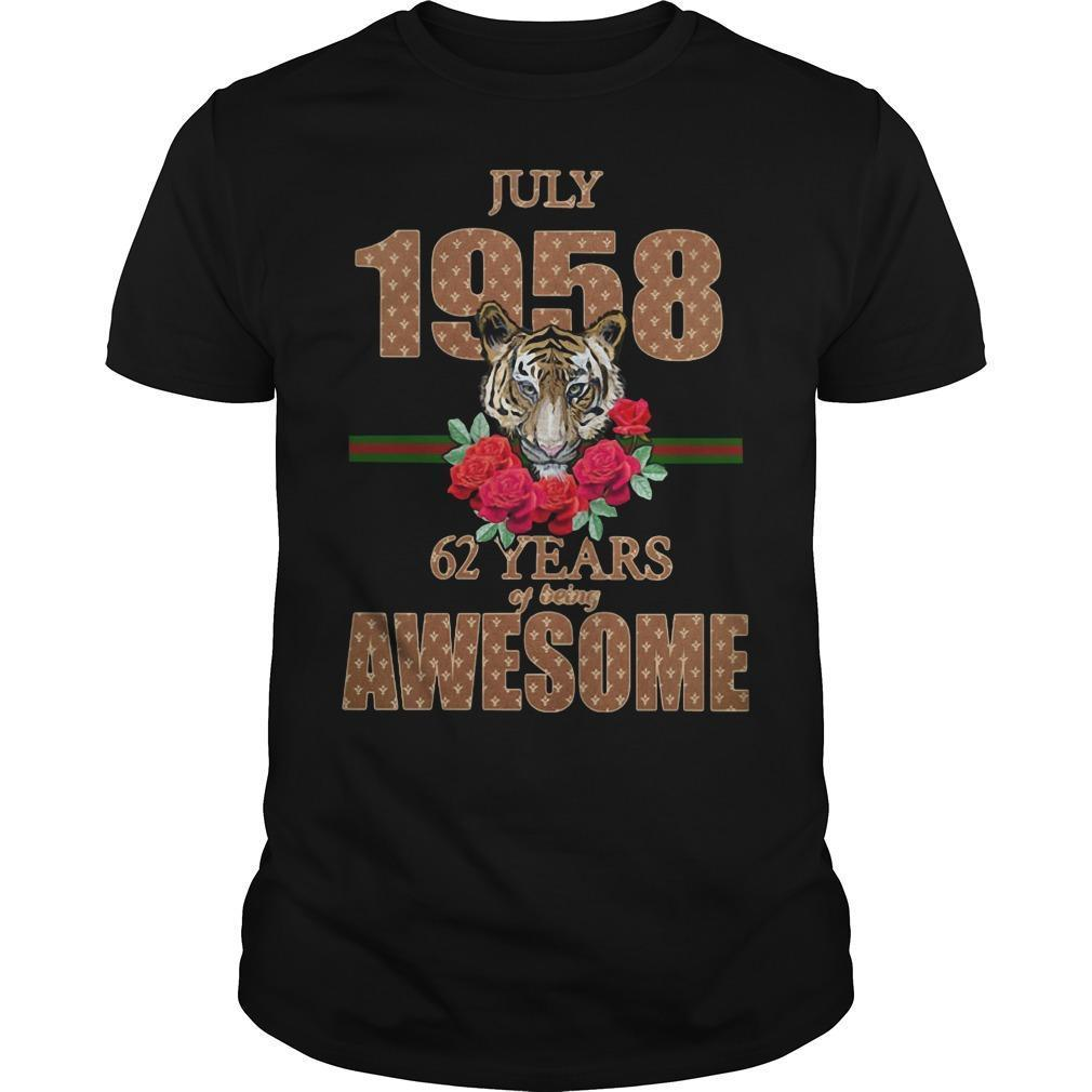 Tiger July 1958 62 Years Of Being Awesome Shirt
