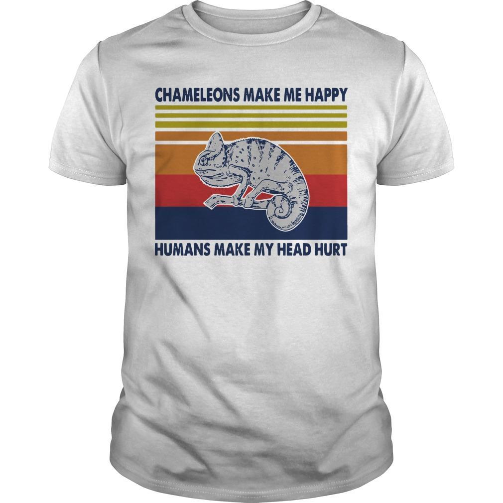Vintage Chameleons Make Me Happy Humans Make My Head Hurt Shirt