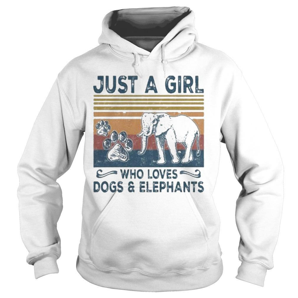 Vintage Just A Girl Who Loves Dogs And Elephants Hoodie