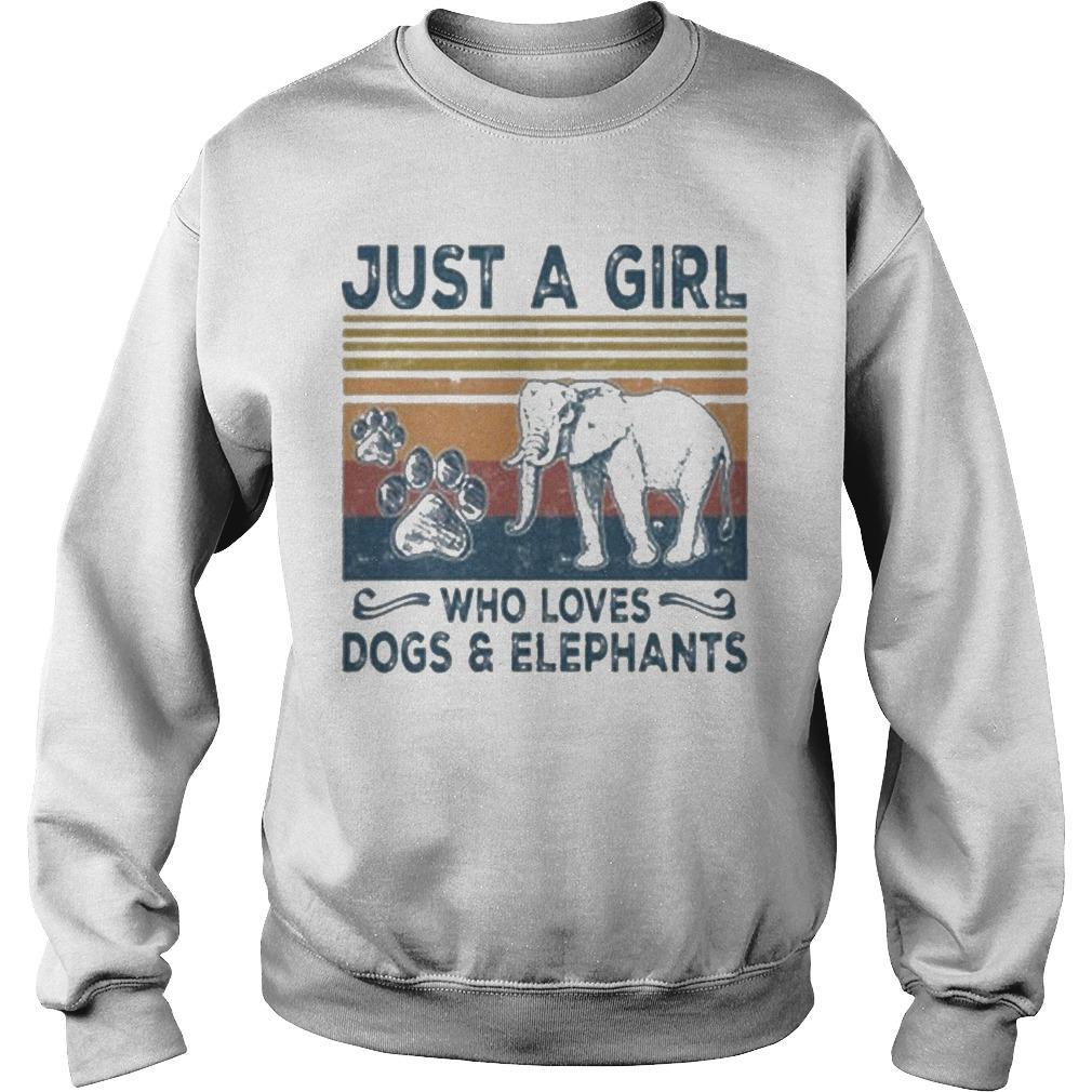 Vintage Just A Girl Who Loves Dogs And Elephants Sweater