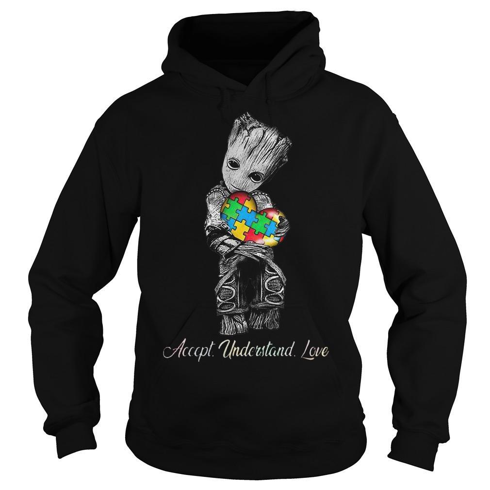 Baby Groot Hugging Autism Accept Understand Love Hoodie
