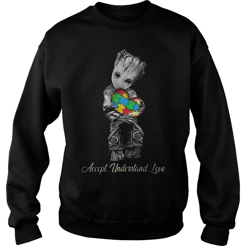 Baby Groot Hugging Autism Accept Understand Love Sweater