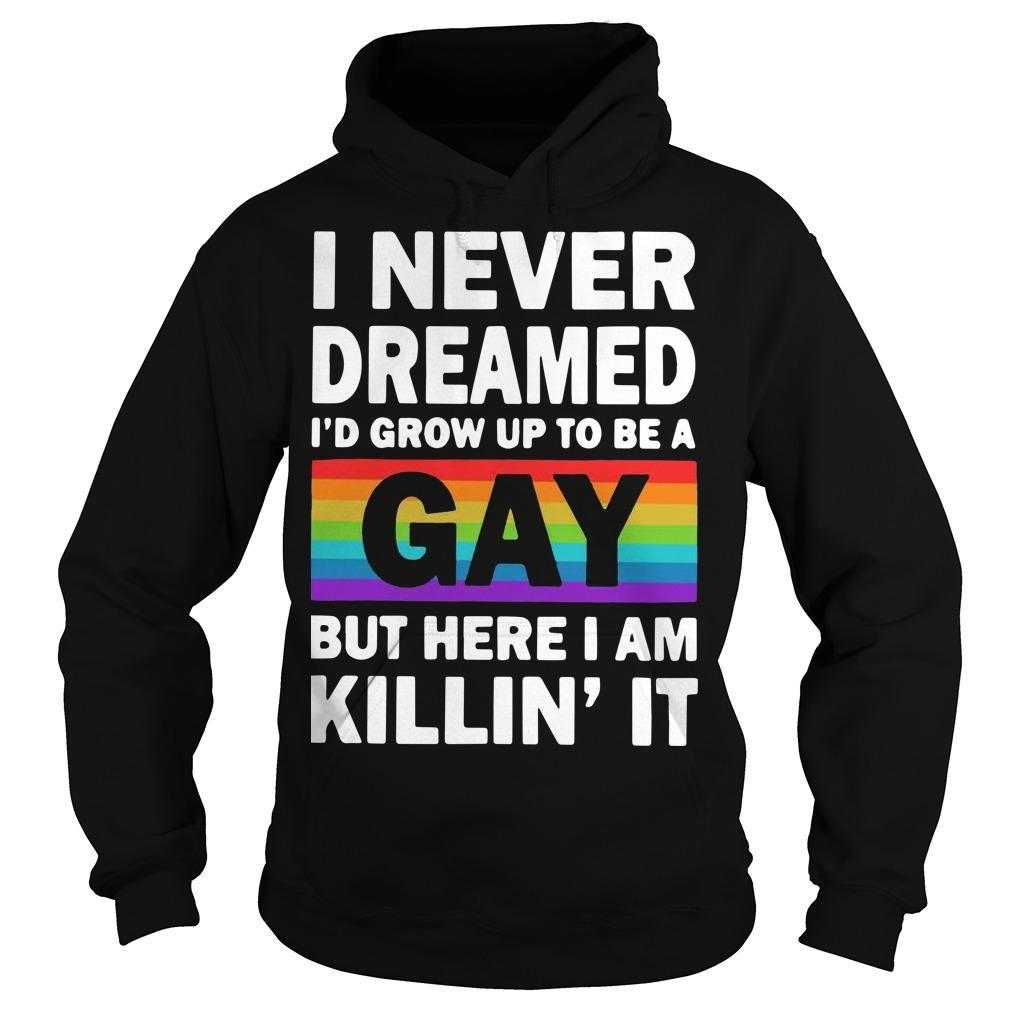 Lgbt I Never Dreamed I'd Grow Up To Be A Gay But Here I Am Killin' It Hoodie