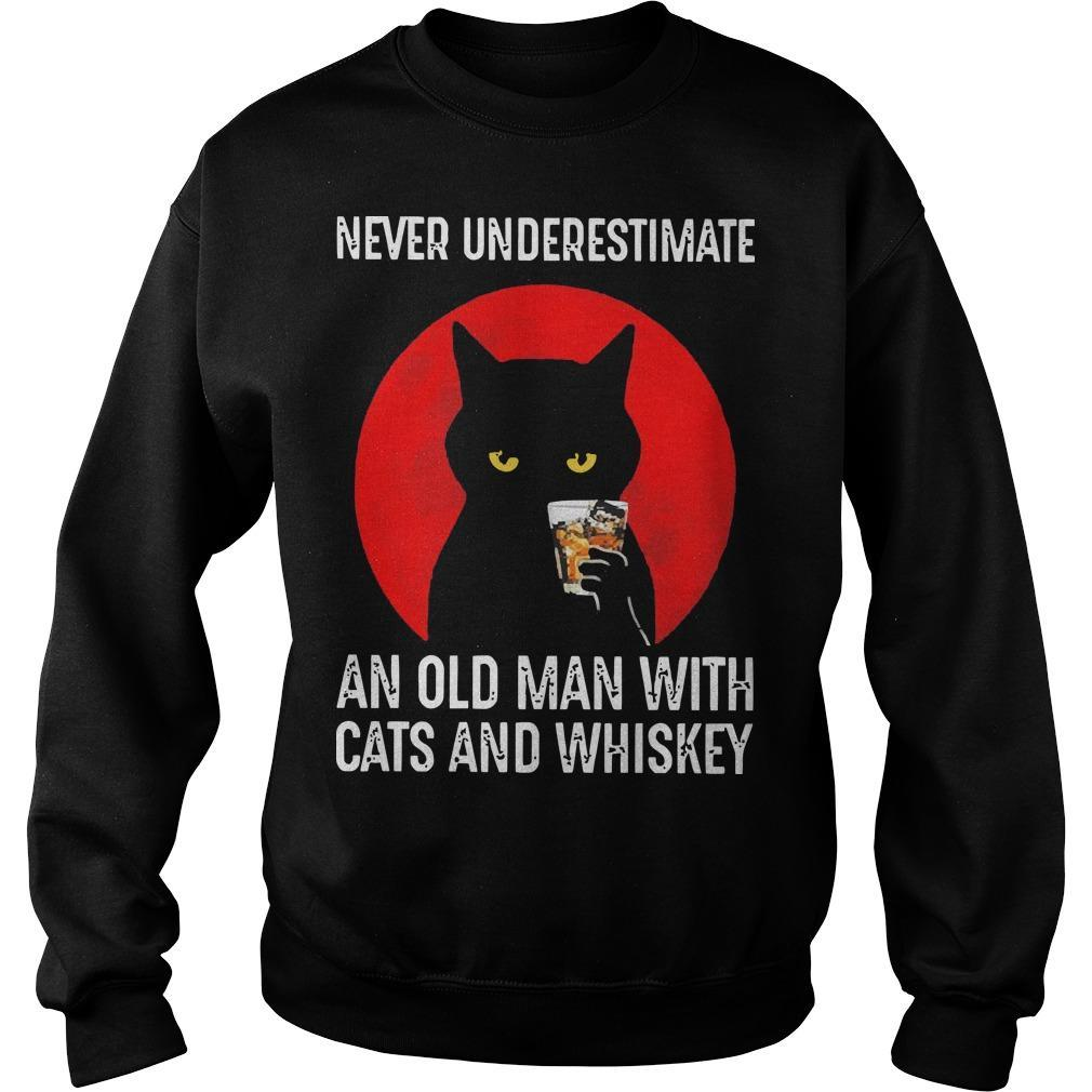 Never Underestimate An Old Man With Cats And Whiskey Sweater