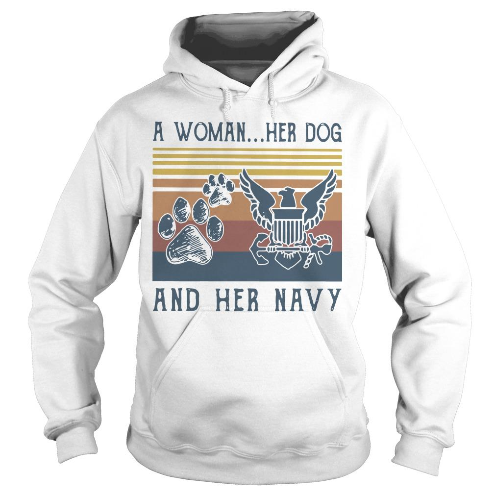 Vintage A Woman Her Dog And Her Navy Hoodie