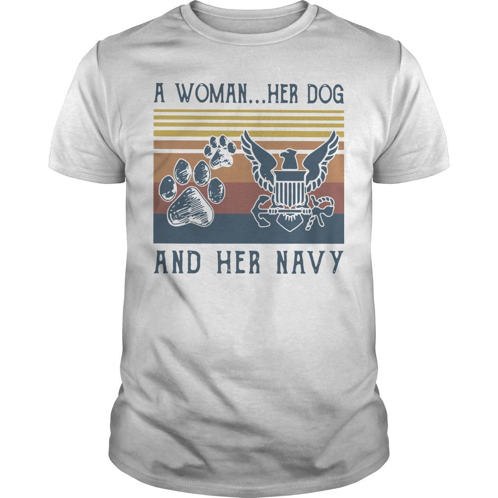 Vintage A Woman Her Dog And Her Navy Shirt