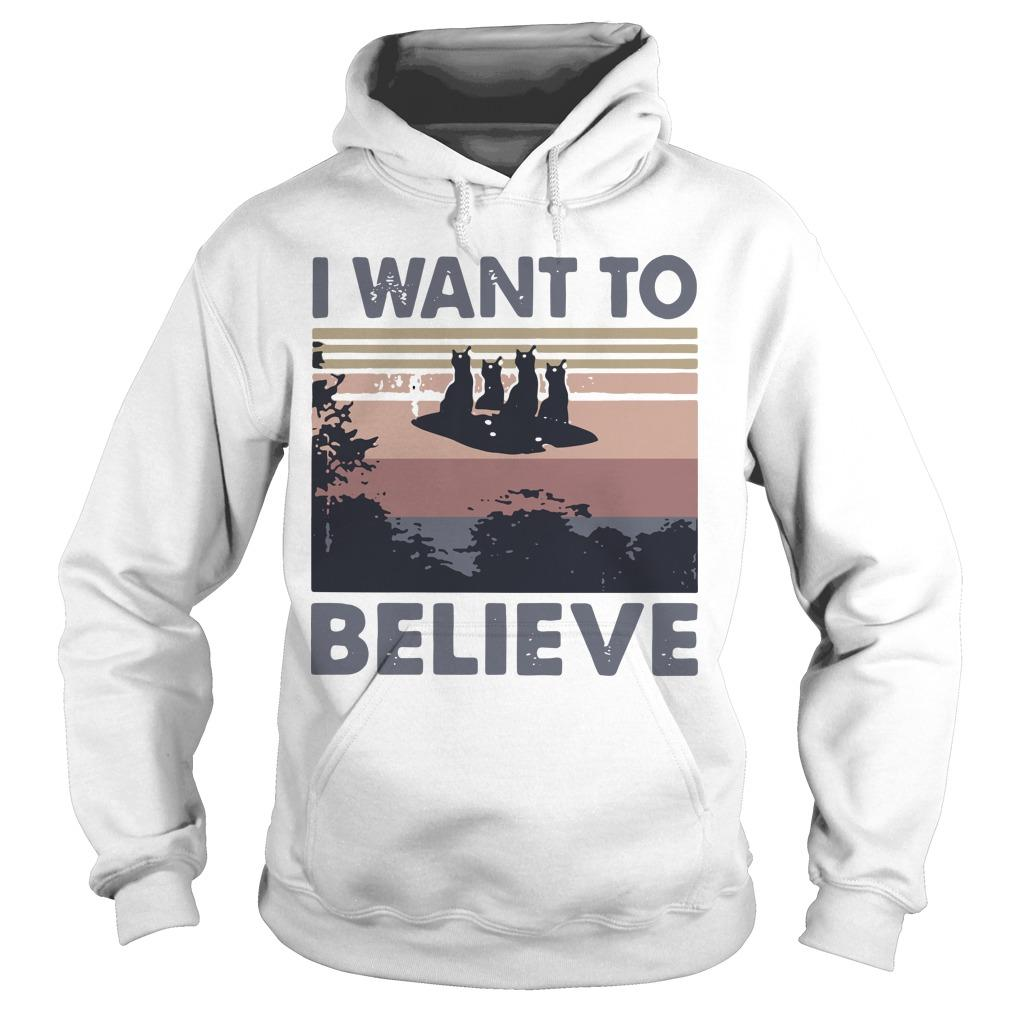 Vintage Cat Ufo I Want To Believe Hoodie