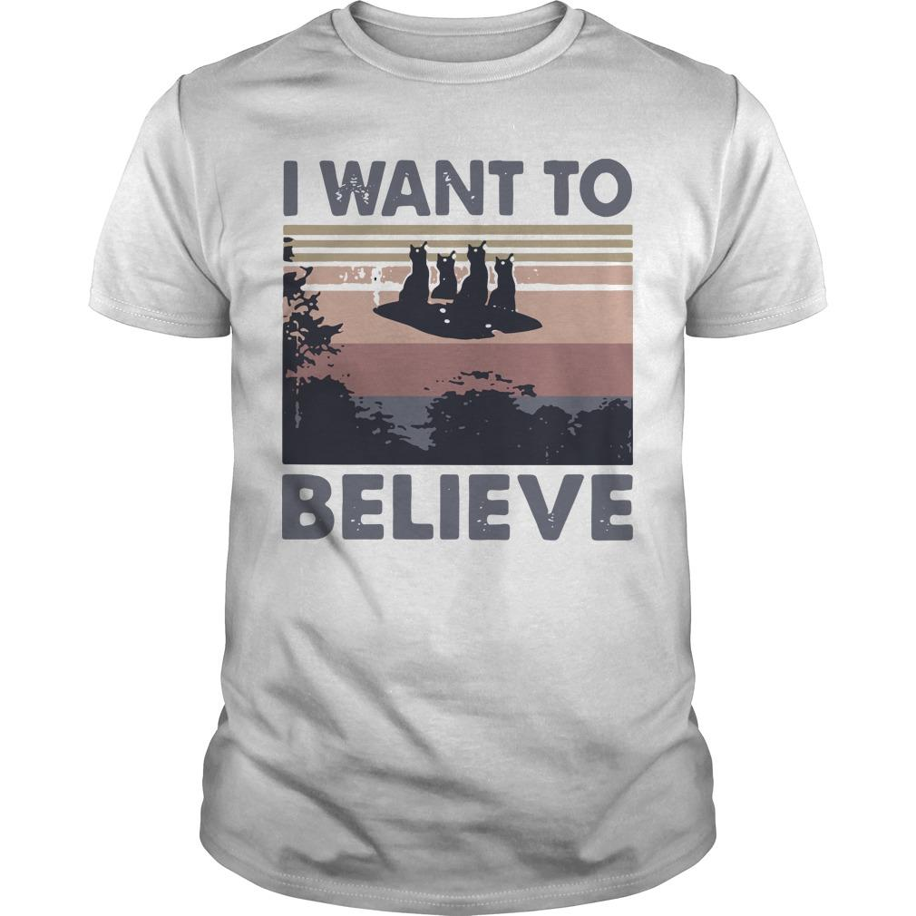 Vintage Cat Ufo I Want To Believe Shirt