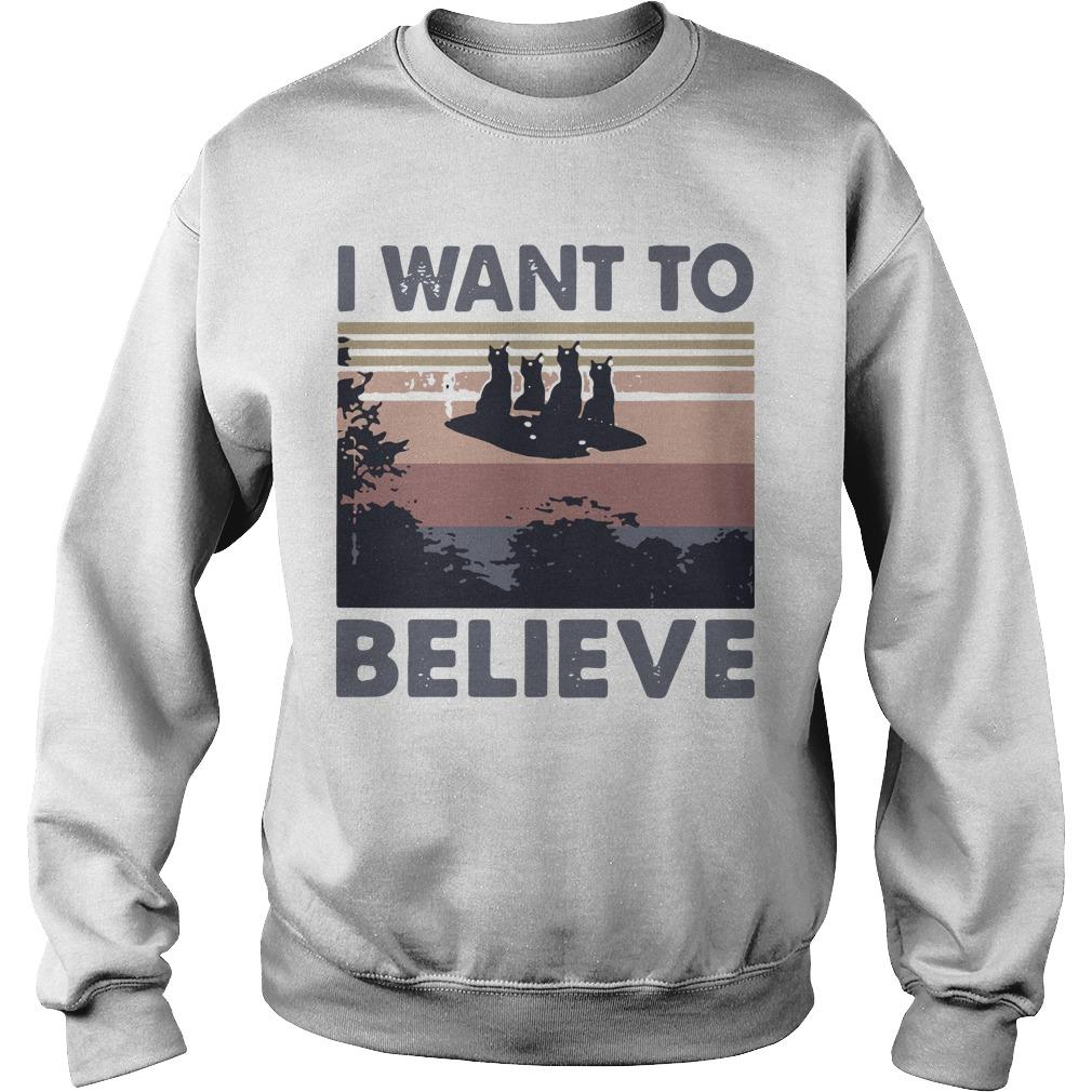 Vintage Cat Ufo I Want To Believe Sweater