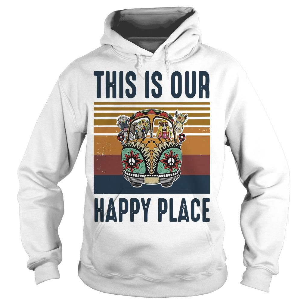 Vintage Hippie Animal This Is Our Happy Place Hoodie