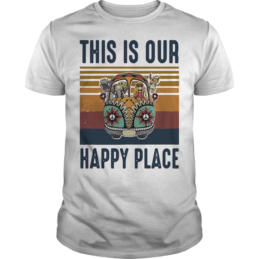 Vintage Hippie Animal This Is Our Happy Place Shirt