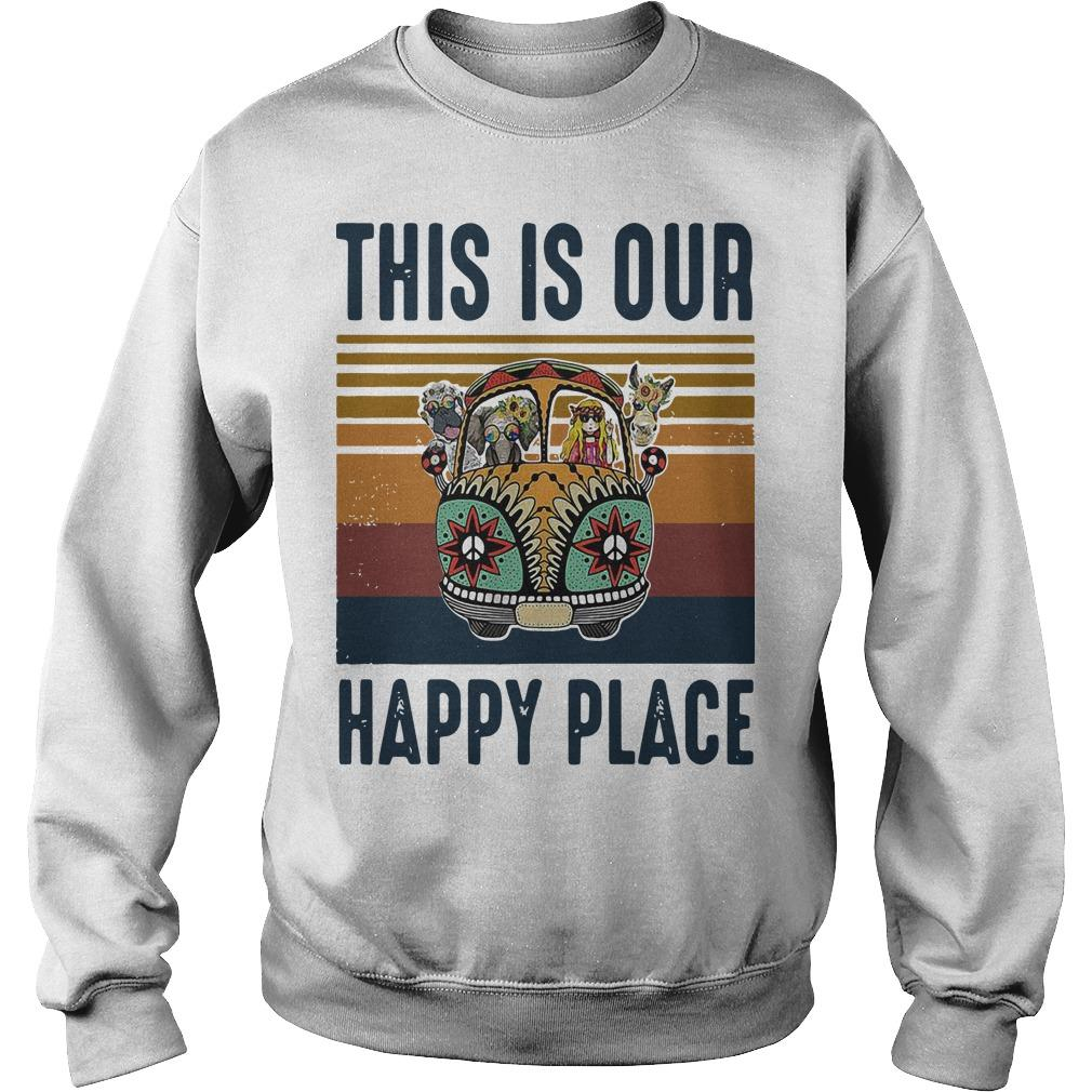 Vintage Hippie Animal This Is Our Happy Place Sweater