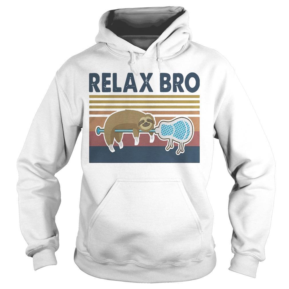 Vintage Lacrosse Sloth Relax Bro Hoodie