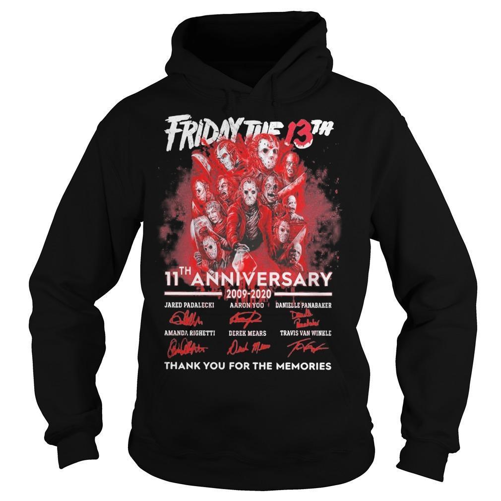 Friday The 13th 11th Anniversary 2009 2020 Thank You For The Memories Hoodie